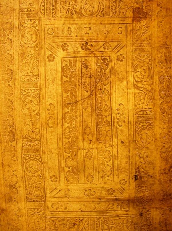 Buchdeckel mit Blindprägung aus dem Jahr 1502