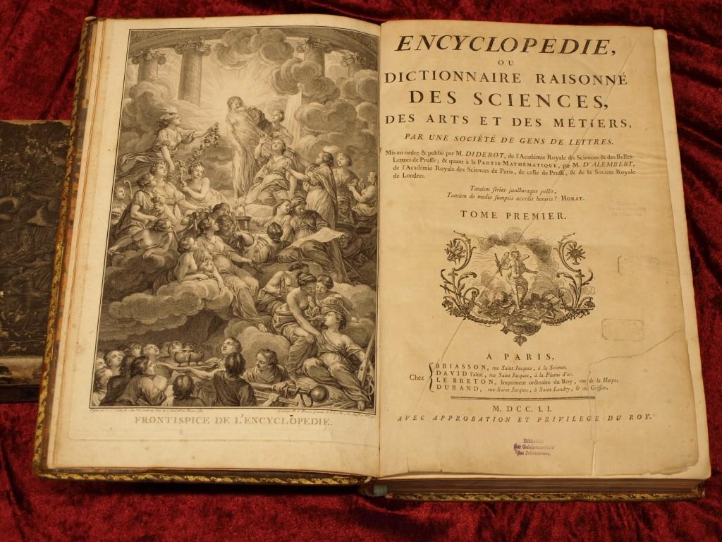 """Frontispiz der """"Encyclopédie"""" von Diderot und d'Alembert, 1. Band, 1751; Entwurf von Charles-Nicolas Cochin, Kupferstich von Bonaventure-Louis Prévost"""
