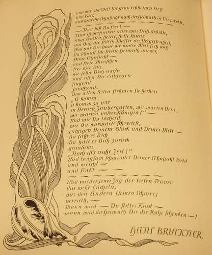 """Schrift und Verzierung von Otto Eckmann zu Hans Bruckners Gedicht """"Heimweh"""", in Pan 1 (1895/96), Heft V, S. 308"""
