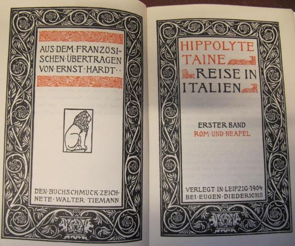 """Doppeltitelei von Walter Tiemann zu Hippolyte Taine`s """"Reise nach Italien"""". Jena: Diederichs 1904"""