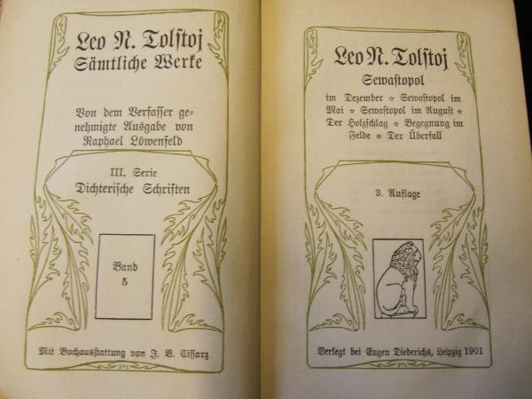 """Titelseite mit Buchschmuck von Johann Vinzenz Cissarz zu Tolstois """"Sewastopol"""", Jena: Diederichs 1901."""