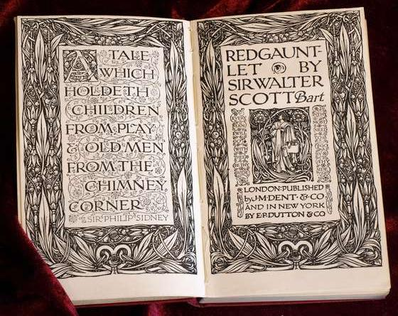 "Doppeltitelei von Reginald Knowles zu Sir Walter Scotts ""Redgauntlet"", Dent & Sons, London, und Dutton & Co., New York"