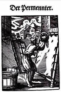 Pergamentherstellung im Kupferstich des 17. Jh. (Ledermuseum Offenbach)