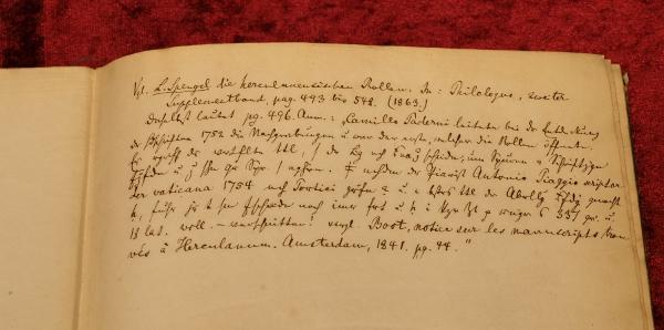 """Inschrift in """"Johann Winckelmann's Sendschreiben von den Herculanischen Entdeckungen"""""""