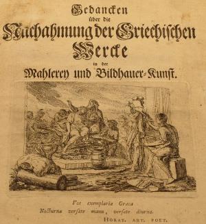 """Ausschnitt des Titelblattes """"Gedanken über die Nachahmung der Griechischen WErke in der Mahlerei und Bildhauerkunst."""" Winckelmann 1755"""