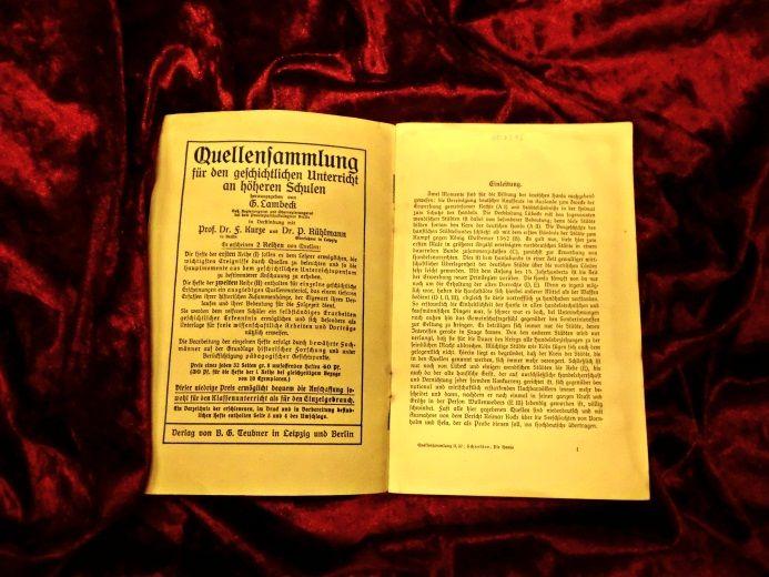 Quellensammlung für den geschichtlichen Unterricht an höheren Schulen / hrsg. von G. Lambeck ... Leipzig [u.a.], 1914 (Sig.: XII 201 h)