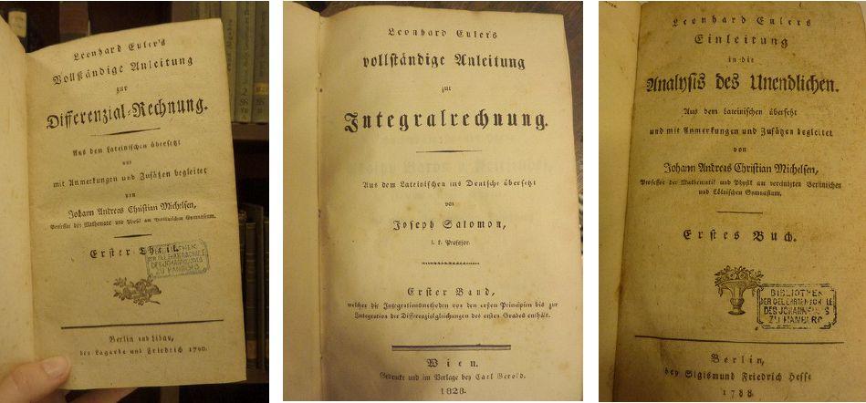 Werke von Leonhard Euler in der Bibliotheca Johannei