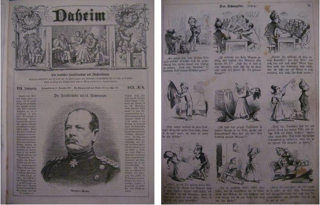 Daheim. Ein deutsches Familienblatt mit Illustrationen (Sig. XXII 72) und Fliegende Blätter (Sig. XXII 14 I d)