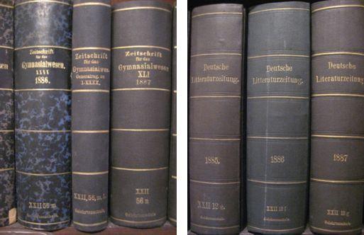Zeitschrift für das Gymnasialwesen (Sig. XXII 56) und Deutsche Literaturzeitung (Sig. XXII 12)